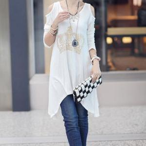 Cut Out Cotton Casual Style T-Shirt..