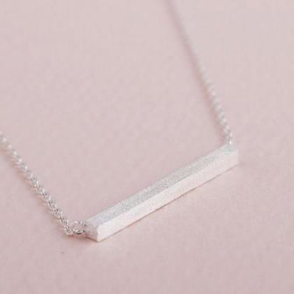 Strip Necklace 18K Gold silver Squa..