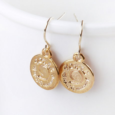 Gold Earrings Women Simple Coin Shape Lettering Design