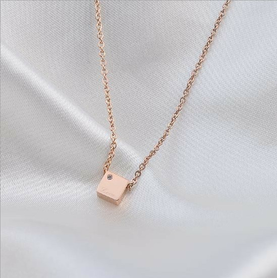 Charm 14k rose gold pendant necklace titanium ladies mini box charm 14k rose gold pendant necklace titanium ladies mini box rhinestone women jewelry aloadofball Image collections