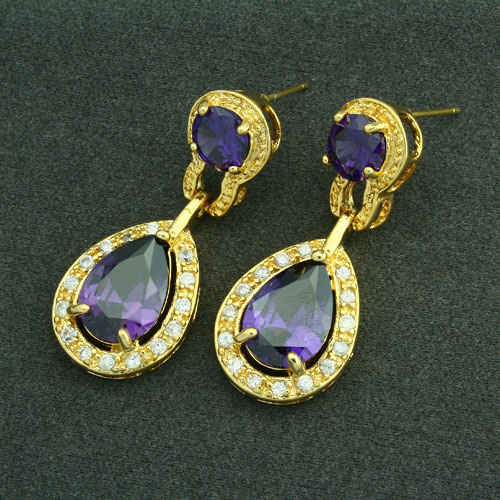 Luxurious 18KGP Purple Cubic Zirconia Lady Earrings