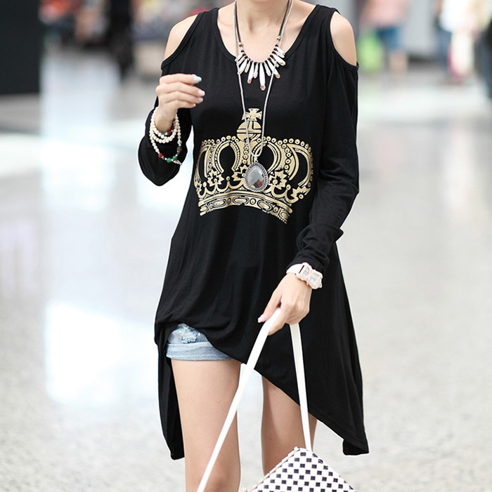 Cut Out Cotton Casual Style T-Shirt Crown Print Scoop Neck Long Sleeves For Women