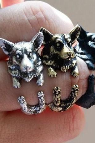 Vintage Boho Chic Welsh Corgi Dog Ring, sloth jewelry,adjustable ring, animal ring, silver ring, statement ring