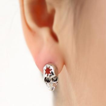 Silver Studs Earrings Amazing Skull Cut Out Design For Unisex