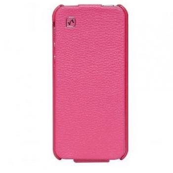 iPhone 5 Real Leather case Cool HOCO Simple Flip Style Vertical Cover (Rose)