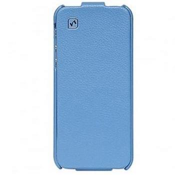 iPhone 5 Real Leather case Cool HOCO Simple Flip Style Vertical Cover (Blue)