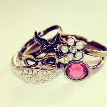 Retro Personality Angel Wings Gem Butterfly Swallow Five Piece Set Ring
