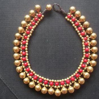 Handmade bracelet anklet gold brass beads bells and red coral balls from Thailand
