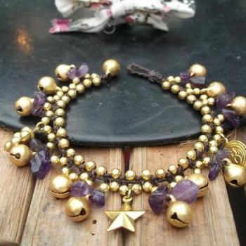 Handmade bracelet purple amethyst and cute brass pendants from Thailand
